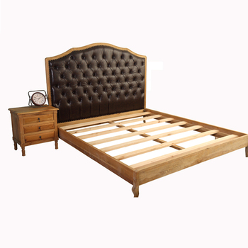 Solid Wood Curved Fancy King Size Modern Leather Double Bed Designs