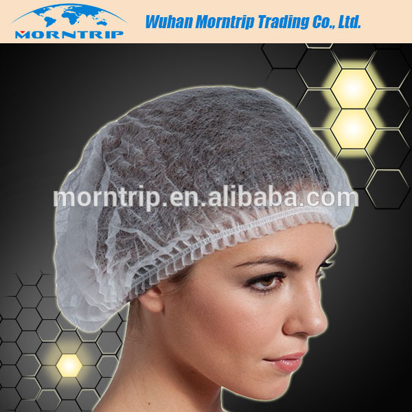PP Non Woven Clip Caps Disposable Mob Cap Medical Crimped Cap With Single Or Double Elastic