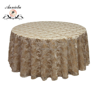 Hot sale gold baroque print organza table cloth for wedding events decoration