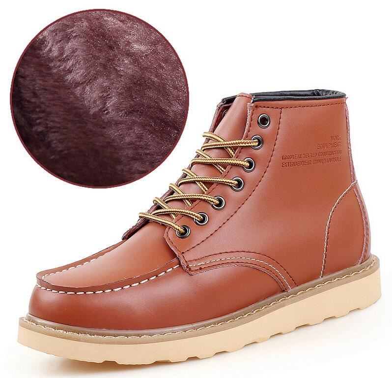 Cheap new design leather meterial winter plush inner men dress boots shoes