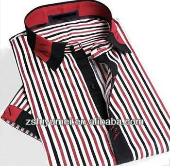 05cffafb0a Korean style slim fit shirts for men/ red and black striped business shirt  short sleeves