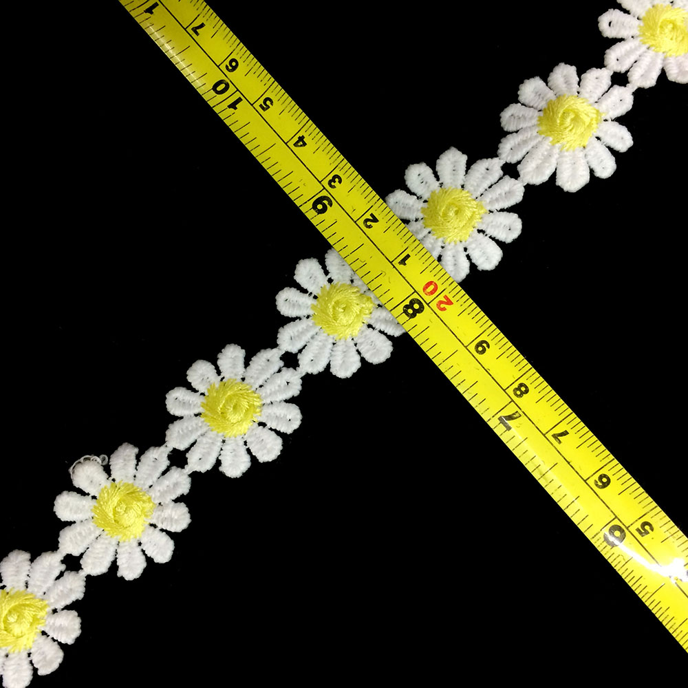 New Design Small Yellow Color Daisy Flower Cotton Crochet Lace Trim
