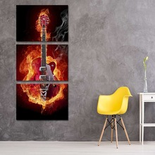 Unframed 3pcs Modern Canvas Art Guitar Oil Painting For Kitchen Home Decoration Print Painting Picture Artwork