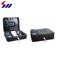 Durable Steel Construction Multiple Euro Compartment Tray Personal Bank Metal Money Cash Safe Box