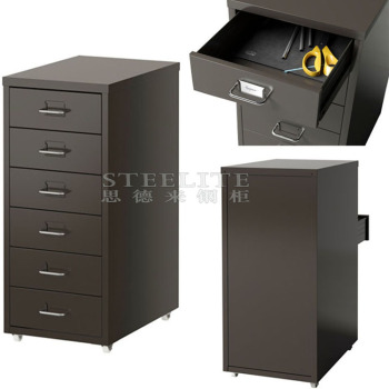 Under Desk Black Color Helmer Mobile 6 Tier Thin Six Drawers Iron Cabinet  Korean Popular