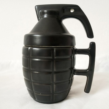 incredible ceramic black grenade mug with lid