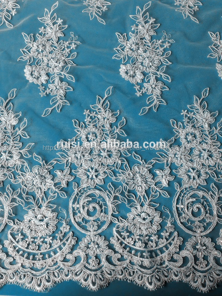 fina tela del bordado de lentejuelas de novia de encaje de tela para