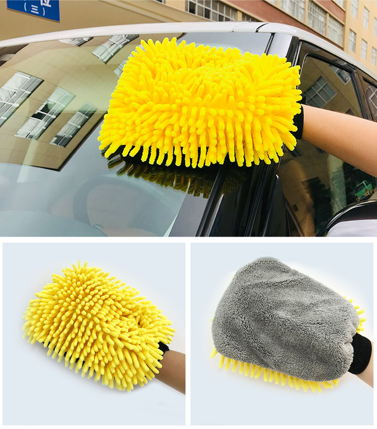 METIS new design cleaning cloth Polyester microfiber chenille car cleaning glove