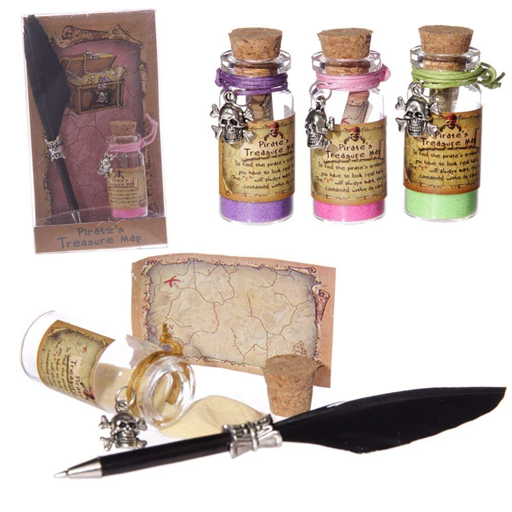 Set Of 4 New Pirate Treasure Map Bottle Set With Quill Pen and Coloured Sand JAR11 For Ages 8+ (Green, Pink, Purple & Yellow)