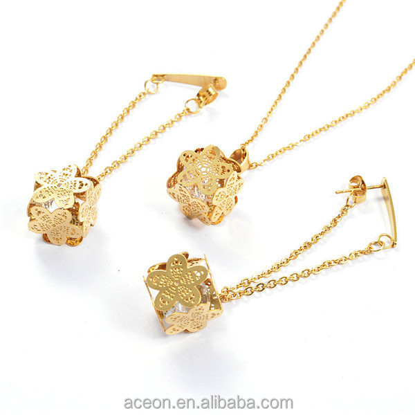 Yiwu Aceon Stainless Steel Trendy Drop Earring Design Crystal Inside Pendant Brazilian Gold Jewelry