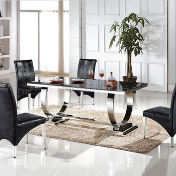 New Model Fashion Extendable Black Glass Top Metal Base Dining Table
