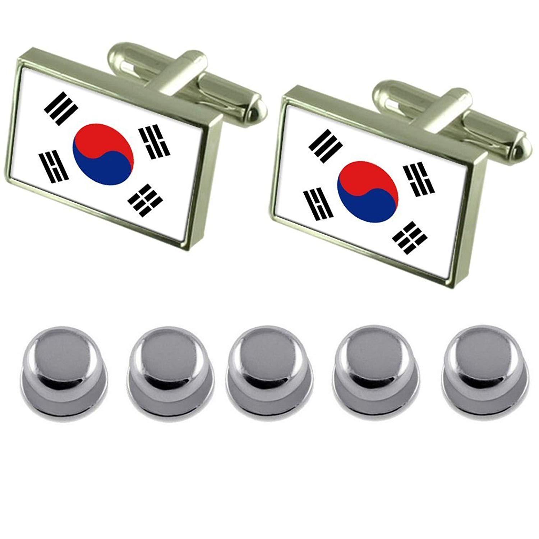 Seoul City South Korea Gold-tone Flag Cufflinks Engraved Box