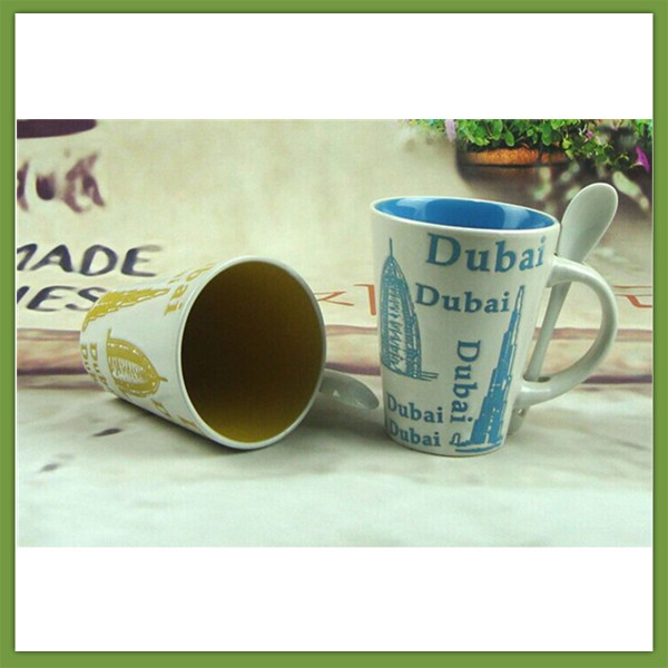 Starbucks Style Color Dubai Dubai City Ceramic Cup/mug With Spoon ...
