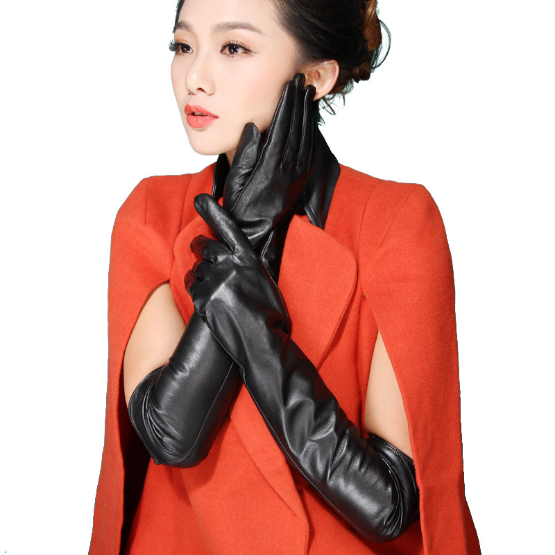 2015 Italian women sexy autumn winter New style plain long genuine lambskin nappa leather dress show fashion love gloves mittens