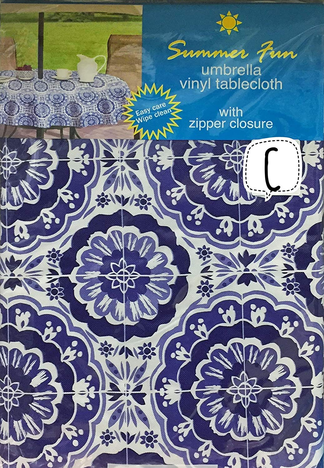 """Elrene Home Fashion Bursting Blooms of Deep Blue Vinyl tablecloth Flannel Back With Hole For Umbrella And Zipper Closure (70"""" Round)"""
