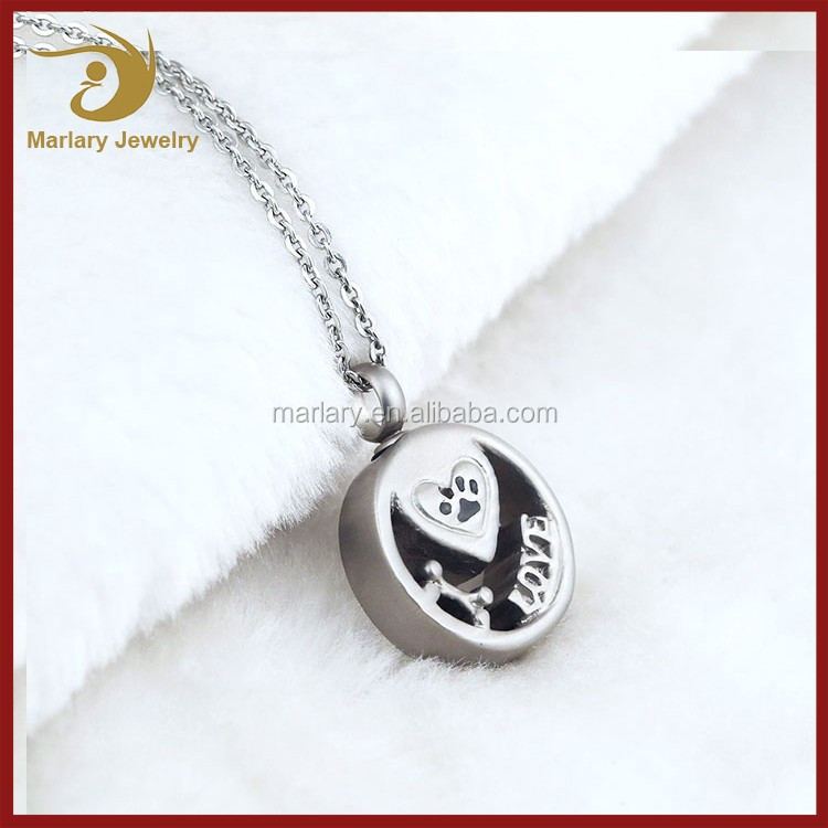 Girlfriend Paw Print Love Heart Cremation Pendant Keepsake Necklace