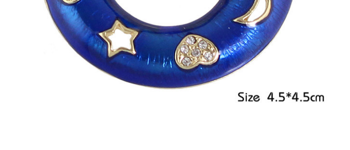 P53-024 women brightful sapphire enamel gold plated round circle heart moon star studded brooch