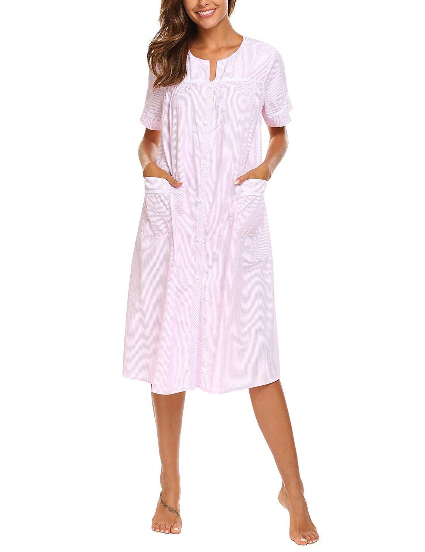 807711758c Adoeve Women s Striped Sleepwear Plus Size Short Sleeve Loose House Dress  Nightgown S-XXL