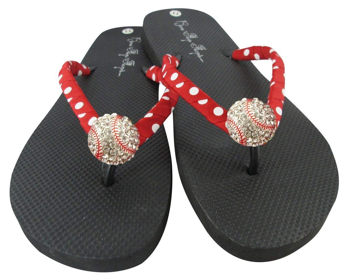 7005083ac900 Get Quotations · Baseball Flip Flops with Rhinestone Bling Sandals