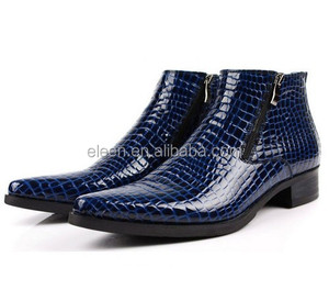 Blue pointed toe leather boots men