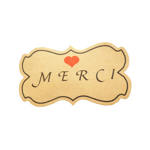 600pcs/pack icraft Kraft Merci Paper Sticker With Red Heart Thank You Self Adhesive Label Sticker Seal Stickers