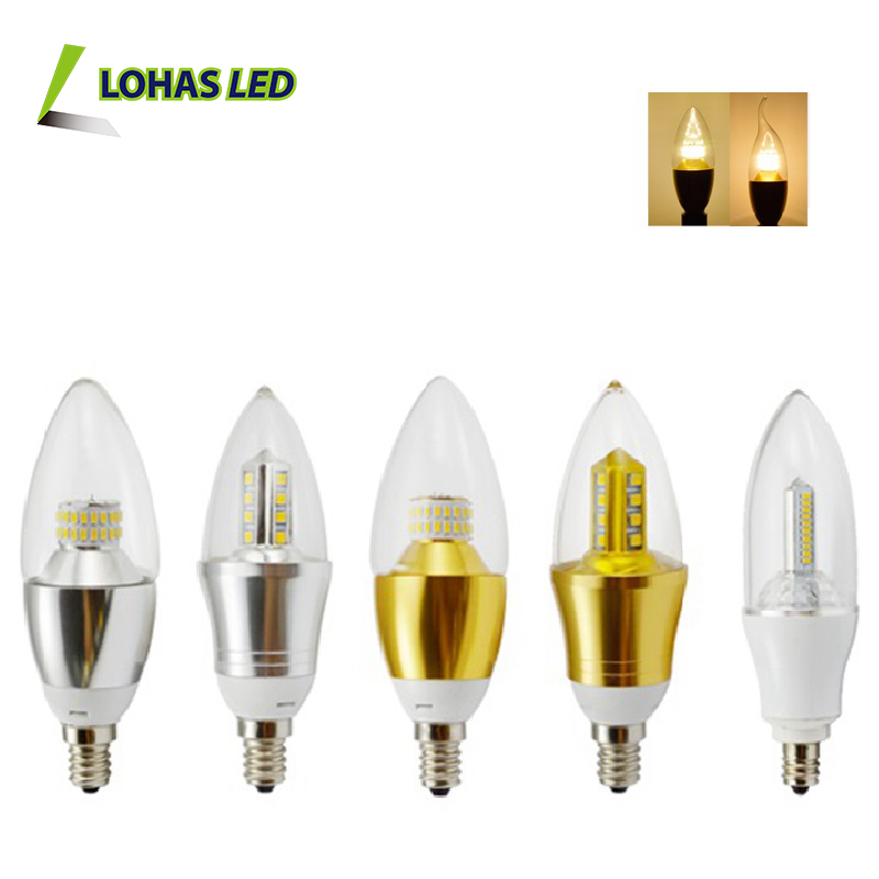 Warm white 110v-220v 220v Glass housing or Plastic Housing 3w 5w 6w 7w 8w 9w 10w 12w E12 E14 B15 Pointed Flame Led Candle Bulb