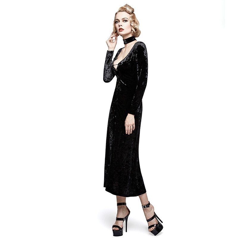 Y-735 Christmas Gothic retro palace laced back velvet party long dress coat