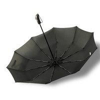 Wholesale Single Layer Pure Black 3 Folding 10Rib Windproof Business Men Style Promotional Folding Umbrella