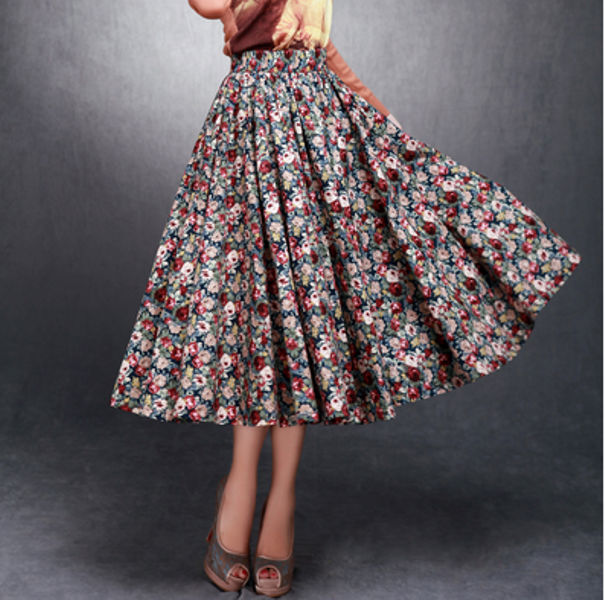 2014 latest skirt design pictures,china wholesale cheap price women skirt,pretty floral cotton printed lady long skirt