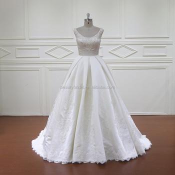 Xf805 Sleeveless Pearl White Albaba Ball Gown Wedding Dress Bridal ...