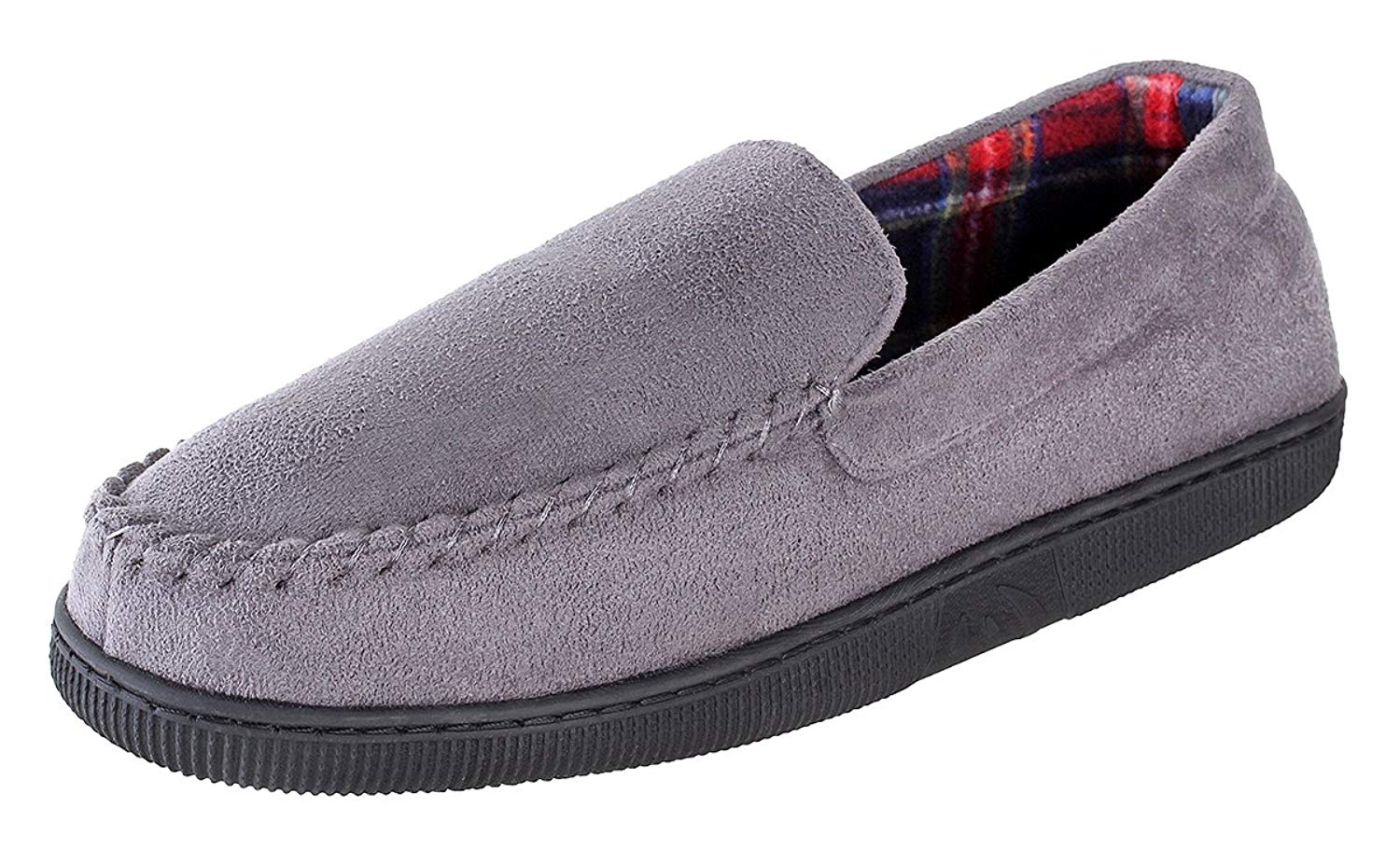 Urban Fox Hudson Suede Slippers Mens | Micro-Suede | Rubber Sole | Plush Plaid Lining | Comfortable House and Outdoor Slippers | Slippers For Men | Slip-On Slippers For Men