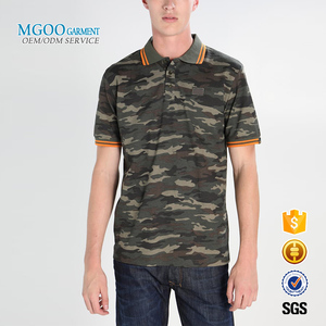 Custom camo polo shirts for men Striped cuff polo streetwear Most popular latest design printed polo