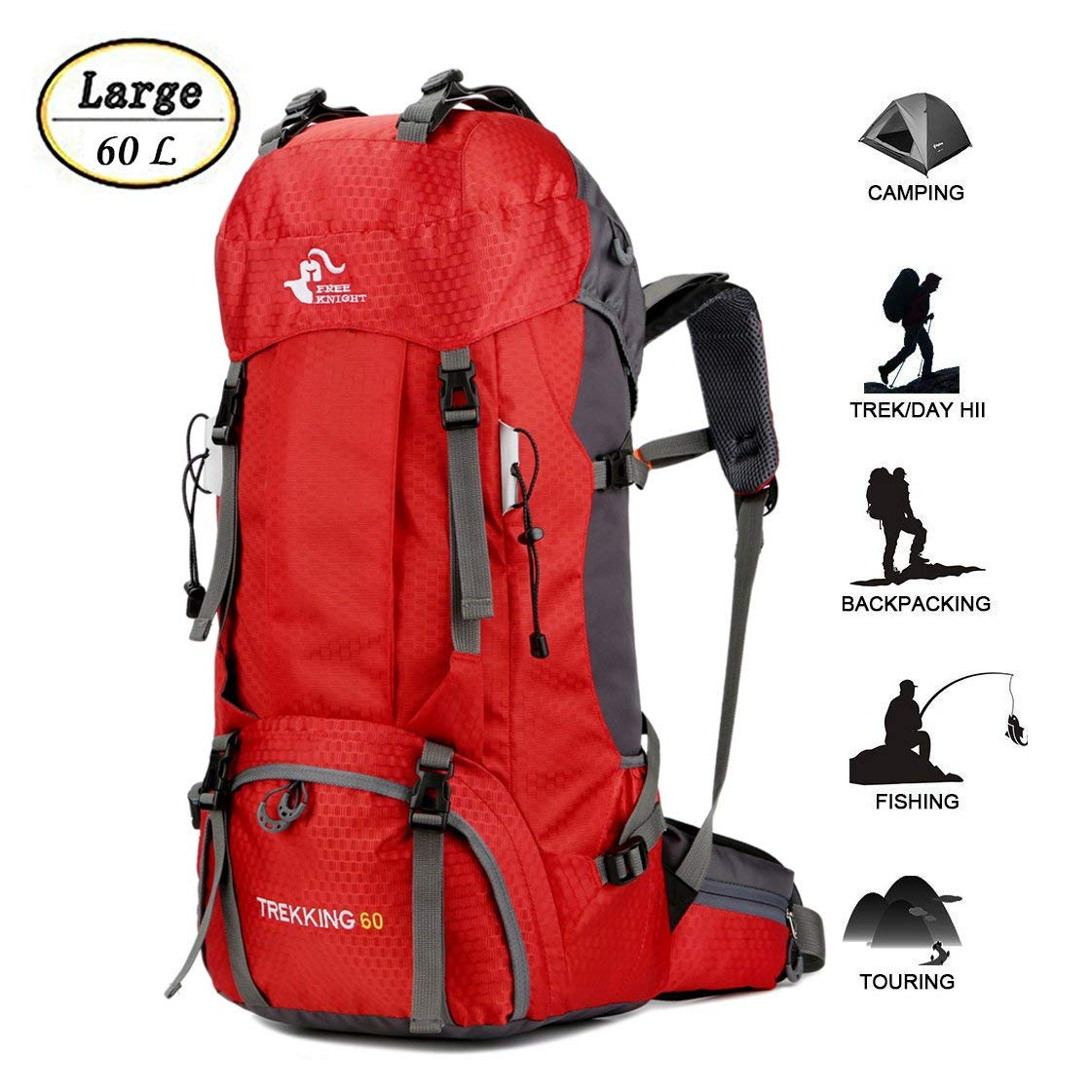 9e706dad4277 Get Quotations · 60L Waterproof Ultra Lightweight Packable Climbing Fishing Traveling  Backpack Hiking Daypack
