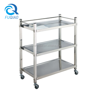 Stainless steel 3 -tiers food service trolley prices , types of service trolley , room service trolley