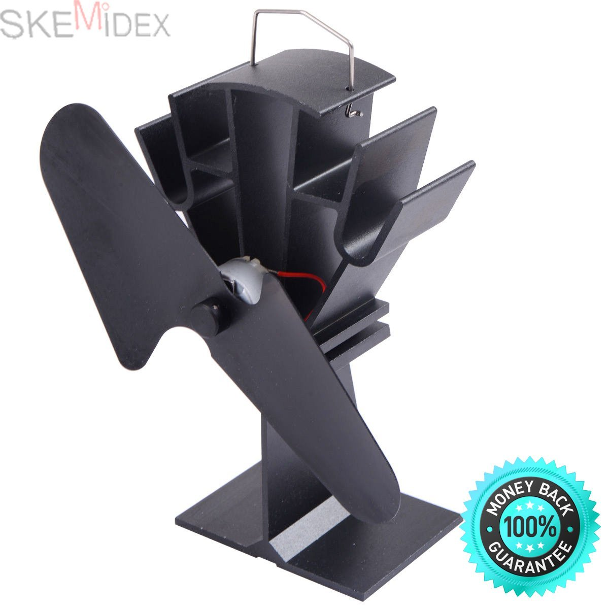 SKEMiDEX---HEAT POWERED WOOD STOVE FAN BLACK Eco Friendly. Economical, heat powered manual stove fan - increases the efficiency of your freestanding stove oven or wood/ log burner