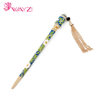 Tassel style color hair sticks wholesale wooden hair stick