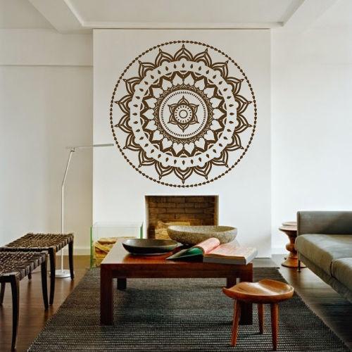 Free Shipping 60 x 60cm Yoga Mandala Om Indian Buddha Symbol Mehndi Wall Decal Home Decor Wall Sticker