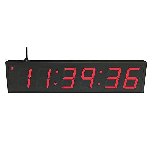 """TimeMachines Precision Digital WiFi Clock, 4""""x 6 Red Digits, Black Case"""
