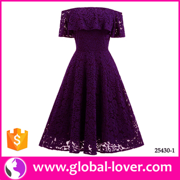 f0a6d54fcb25 New off shoulder purple lace dresses latest party dress designs for ladies