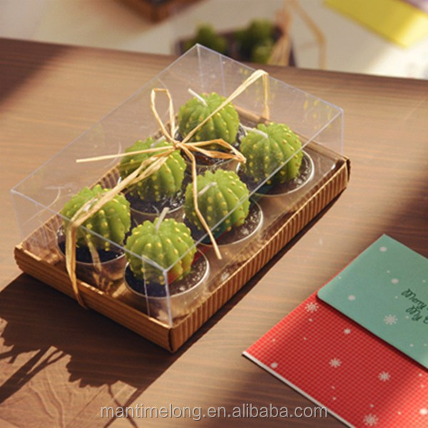 rare new mini cactus candles plant decor home table garden 6pcs