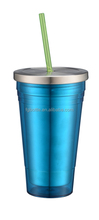 double wall stainless steel insulated water bottle/cup with straw tumbler