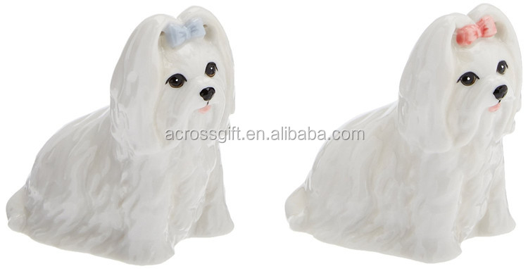 Hot Sale Handmade Painted Decorative Ceramic Maltese Salt and Pepper