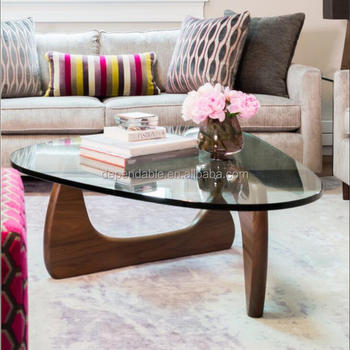 Triangle Glass Top Coffee Table Wooden Legs Buy Triangle