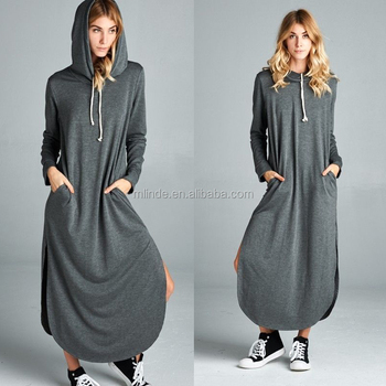 Women Long Sleeve Hoodie Sweatshirt Maxi Dress Pullover Pockets Sweater  Casual Fit Dresses Wholesale Custom Long Dresses , Buy Long Casual