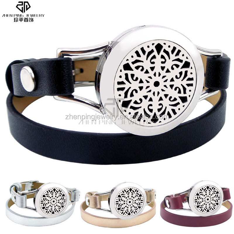 Abstract the flowers aroma diffuser locket leather strap bracelet