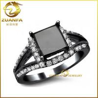 Wedding Ring 3.14 ct Black Diamond Princess Cut Engagement black diamond rings canada