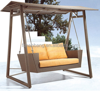 Outdoor Patio Garden Wicker Double Two Seat Swing Chair