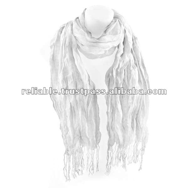 Solid White Crinkle Scarf