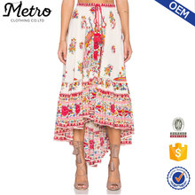Short front long back maxi skirt red and white multi color traditional style