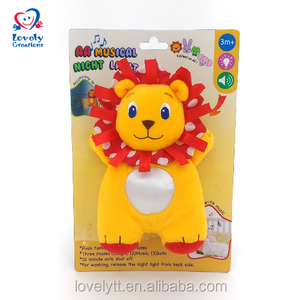 "8"" Hot Sale Red Plush Lion Toy LED Luminous Touch Night Light With Music"